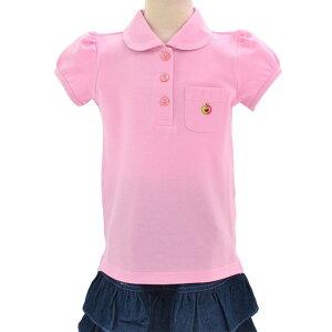 ポロシャツ(半袖) ピンク×リンゴ(刺繍入り) 子供用スクールポロシャツ 子供 白 ポロシャツ 綿100 コットン 名札 通学 キッズ 小学生