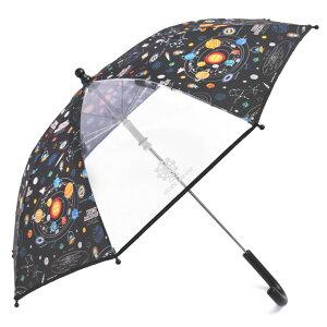 手開き傘(45cm) 太陽系惑星とコスモプラネタリウム(ブラック) (レイングッズ 子供用かさ アンブレラ 透明窓 グラスファイバー ネームタグ 雨傘 雨具 子ども 子供 キッズ ジュニア 幼児