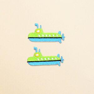 ワッペン 潜水艦・イエローグリーン (2個セット) 子供用 ワッペン アイロン アップリケ 幼児 子供 かわいい おしゃれ