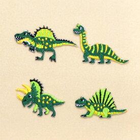ワッペン 中生代の人気恐竜セット (4個セット) 子供用 ワッペン アイロン アップリケ 幼児 子供 かわいい おしゃれ