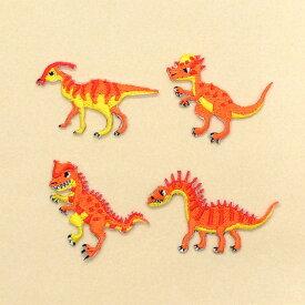 ワッペン 強さを競うワイルド恐竜セット (4個セット) 子供用 ワッペン アイロン アップリケ 幼児 子供 かわいい おしゃれ