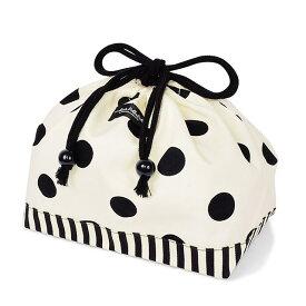 decorPolkaDot 巾着(中サイズ) polka dot large(twill・white)×narrow stripe(twill・black) (お弁当入れ お弁当袋 巾着 幼稚園 入園グッズ 入園準備 子ども)
