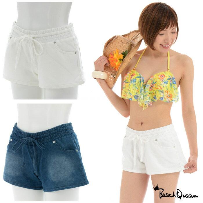 【Beach Queen ビーチクイーン】レディース カバーパンツ カットデニム