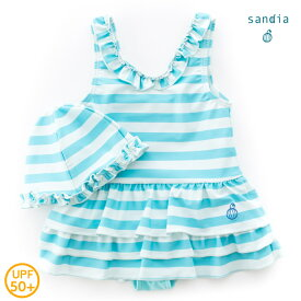 【メール便送料無料】【Sandia サンディア】子供水着 女の子 Vネックティアード アイスボーダー【ベビー水着 キッズ水着 水着】
