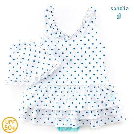 【メール便送料無料】【Sandia サンディア】子供水着 女の子 Vネックティアード アイスドット【ベビー水着 キッズ水着 水着】