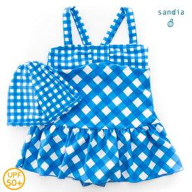 【メール便送料無料】【Sandia サンディア】子供水着 女の子 スクエアリボン ブルーギンガム【ベビー水着 キッズ水着 水着】