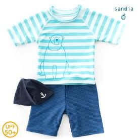 【メール便送料無料】【Sandia サンディア】子供水着 男の子 ラッシュガードセット しろくまイラスト【ベビー水着 キッズ水着 水着】