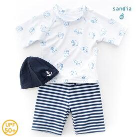 【メール便送料無料】【Sandia サンディア】子供水着 男の子 ラッシュガードセット しろくま【ベビー水着 キッズ水着 水着】