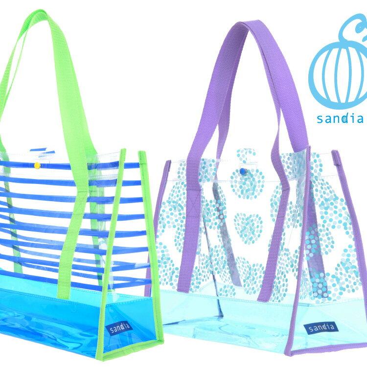 【Sandia サンディア PVCプールバッグ 】水着やタオルが余裕で入る 男の子 女の子 キッズ 子供 あす楽 スイムバッグ 抗菌持ち手