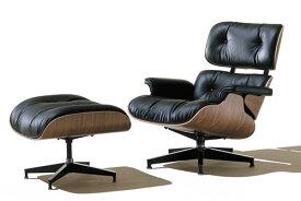 ハーマンミラー イームズラウンジチェア&オットマン シェル ウォールナット 張り地 黒皮革ブラック L1-1 Herman Miller ES67071-OU2109_dp05