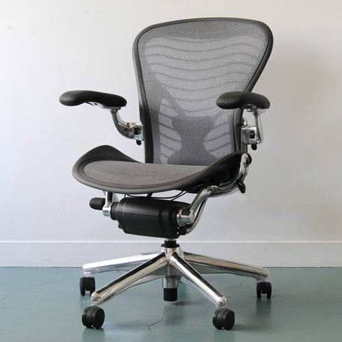 hmae14 herman miller herman miller aeronaeron chairs polished aluminum posturefit full equipped b size upholstery wave platinum - Herman Miller Aeron Chair