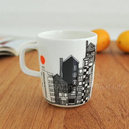 marimekko SIIRTOLAPUUTARHA マグカップ/絵柄ブラック×オレンジ 65(195)【63297】マリメッコ _dp10_mp10