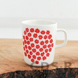 マリメッコ マグカップ プケッティ 250ml ホワイト×レッド marimekko PUKETTI 75【68354】_dp10 _ppp