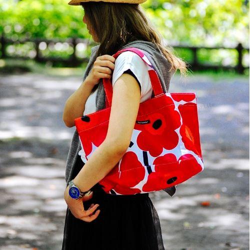 marimekko JAPAN UNIKKOBAG トートバッグ/ホワイト×レッド 75(001)【42732】マリメッコ ウニッコバッグ_dp10 _mp10