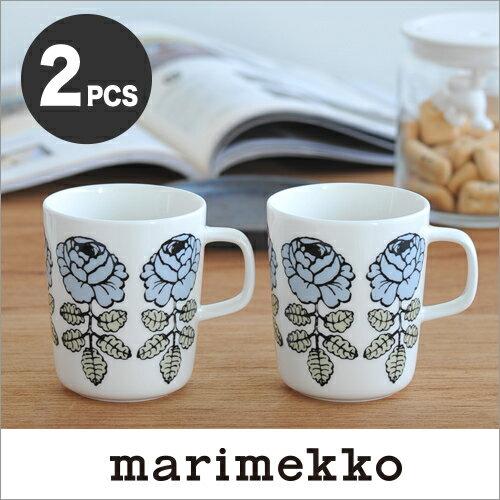 【日本限定】marimekko VIHKIRUUSU マグカップ /ブルーグレー2個セット 92(980)【68411】マリメッコ ヴィヒキルース_sp10 _mp10
