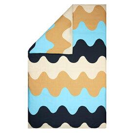 マリメッコ ロッキ デュベカバー 掛け布団カバー 150×210cm ブルー×ベージュ×ホワイト (10) marimekko LOKKI