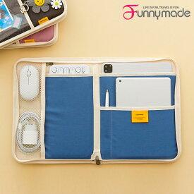 タブレットバッグ iPad 11インチ 12インチ アイパッド タブレットケース funnymade iPAD X KEYBOARD POUCH インナーケース PCケース 持ち運び 撥水 仕切り かわいい おしゃれ