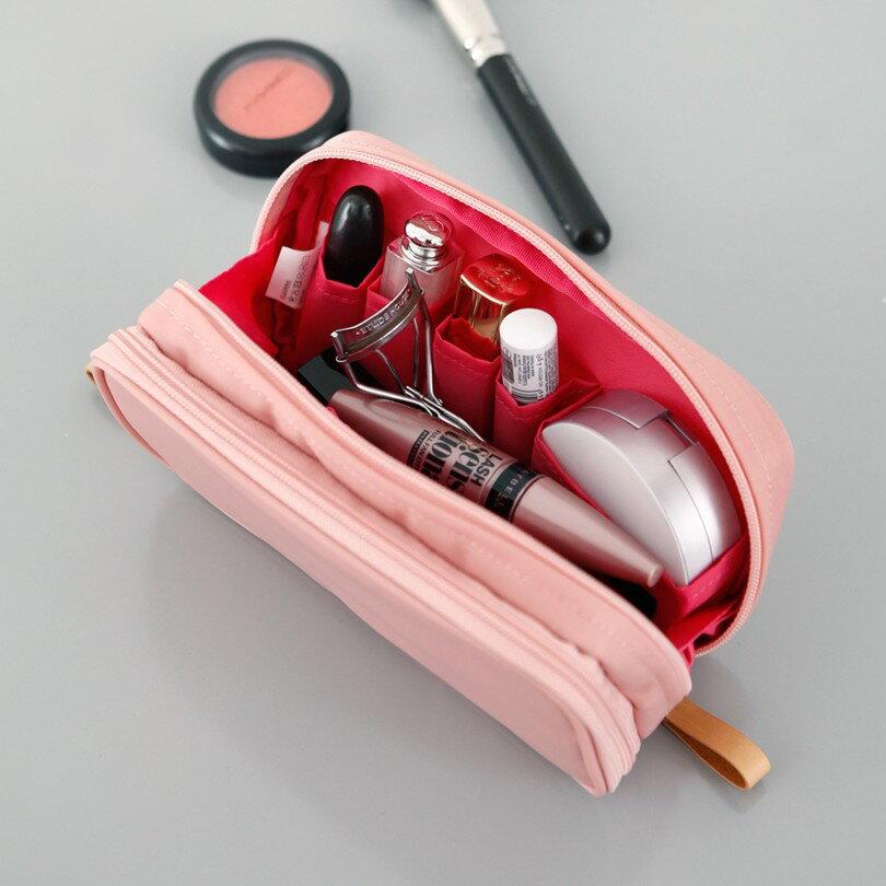 化粧ポーチ コスメポーチ メイクポーチ メイクケース ithinkso DOUBLE ZIP MAKE-UP バニティバッグ ポーチ コスメバッグ ファスナー シンプル 旅行 機能的 小物入れ 化粧道具
