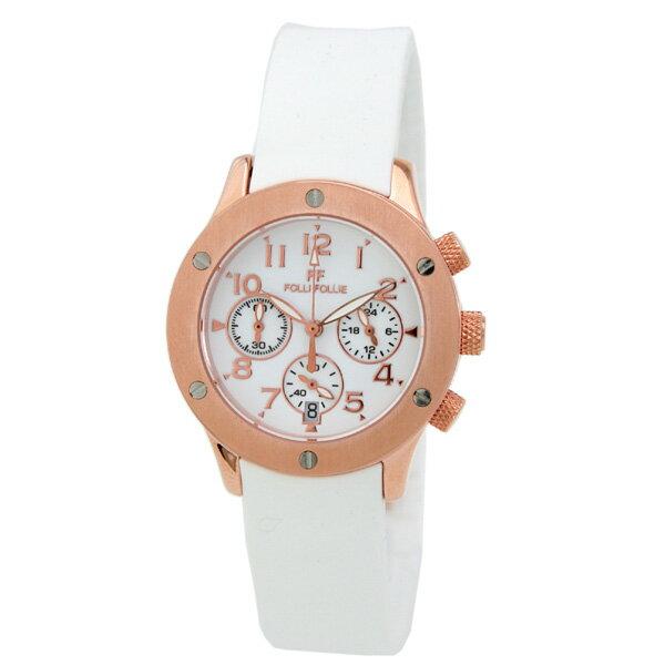 【2500円割引クーポン】FolliFollie [海外輸入品] フォリフォリ クロノグラフ ホワイト ラバー WT6R042SEW レディース 腕時計 時計