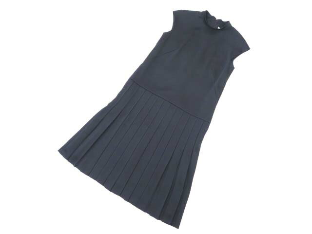 FOXEY NEW YORK COLLECTION 36188 Pintuck Pleated Dress ミッドナイトブルー 38 A1【中古】