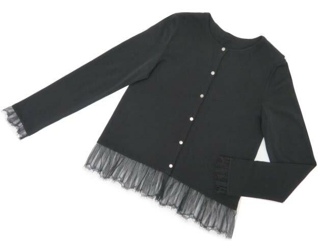 FOXEY BOUTIQUE 36772 Lace Hem Knit Cardi ブラックブラック 42 A1【中古】