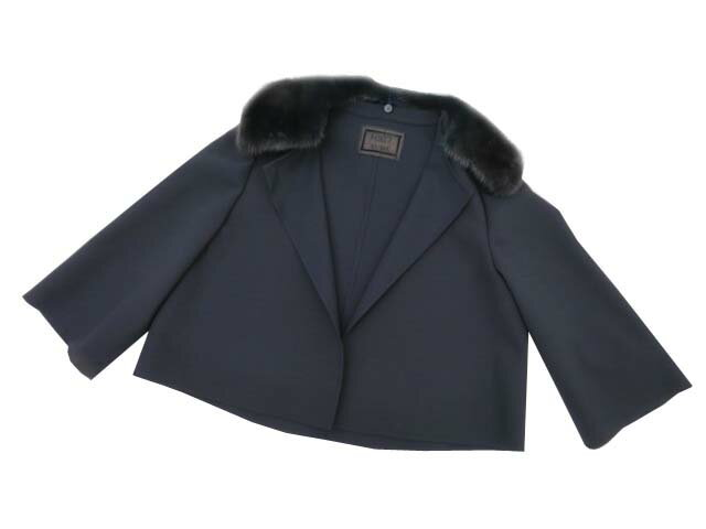 FOXEY BOUTIQUE 38682 Jacket(Mink Whip) ミッドナイトブルー 38 S1【中古】