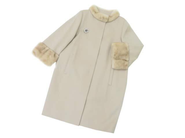 FOXEY BOUTIQUE 34708 Coat(Crystal Snow) オイスターベージュ 42 A1【中古】