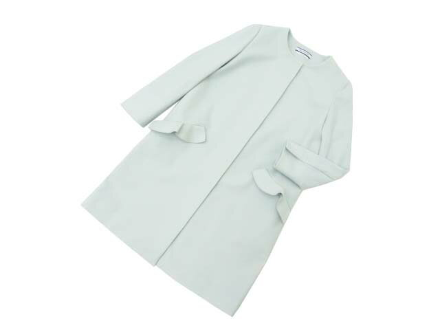 FOXEY NEW YORK COLLECTION 39682 Doubleface light Weight Coating Flounce Pocket Coat ミント 38 S2【中古】