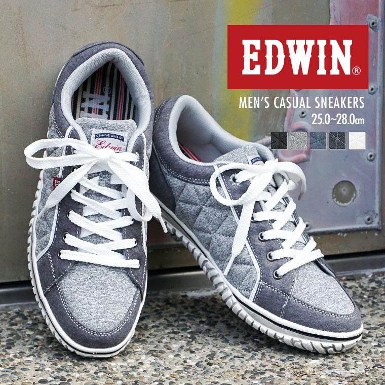 【送料無料】【EDWIN/エドウィン】 軽量 ローカットスニーカー メンズ キルティング カジュアルシューズ 通学シューズ 靴 レースアップ 紳士 父の日 プレゼント ED-7533