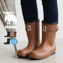 【送料無料】MOZ ラバー レインブーツ レディース 完全防水 3e ハーフ おしゃれ 長靴 ジュニア かわいい 雨靴 黒 ブラック キャメル 軽量 ジョッキーブーツ レインシューズ 歩きやすい 履き