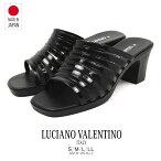 日本製LUCIANOVALENTINOITALYオフィスサンダルミュールレディース歩きやすい黒白サンダルレディースかわいいオフィスサンダル疲れない美脚ミュールレディースヒール人気109-3940