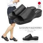 日本製LUCIANOVALENTINOITALYコンフォートサンダルレディース歩きやすい黒厚底サンダルかわいいオフィスサンダル疲れない美脚ウェッジソールサンダル黒ナースサンダル黒疲れにくいナースシューズフットベッドミュール109-6090