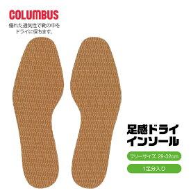 COLUMBUS 中敷き 靴 インソール 衝撃吸収 疲れない インソール 抗菌加工 足感ドライ クッション 足の臭い対策 男性用 ビジネスシューズ スニーカー 大きさ調整 消臭 大きいサイズ 29-32cm カットできる フリーサイズ ブラウン