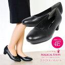 【送料無料】MAGICAL STEPS パンプス 痛くない 幅広 4E 外反母趾 パンプス 太ヒール 歩きやすい 美脚 リクルート パンプス 黒 ラウンドトゥ フォーマル 就活 靴 オフィス ビジネス 履きやすい 小さいサイズ 大きいサイズ 4040