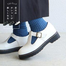 【送料無料】カジュアルシューズ レディース 歩きやすい エナメルシューズ レディース tストラップシューズ 面ファスナー おでこ靴 おしゃれ かわいい シンプル 履きやすい 痛くない ブラック 黒 ホワイト 白 5827