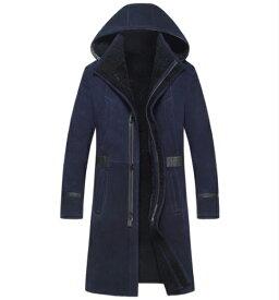 新品 セレブレザー 本革ムートンロングモッズコート 毛皮 ジャケット M-4XL メンズ ファー ボア フード 帽子 ジップファスナー ネイビー ストライプ 紺 ミリタリー スエード