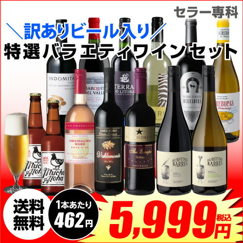 訳あり セット 11,384円→5,999円 海外ビール 2本入り!特選バラエティ ワイン 11本セット19弾 (合計13本) 送料無料長S