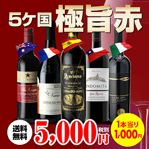 【ママ割5倍】「5ヶ国飲み比べ」極旨赤5本セット25弾【送料無料】[赤ワイン セット][長S]