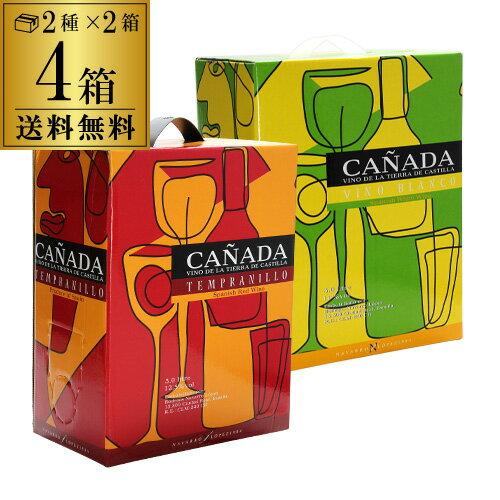 【ママ割5倍】《箱ワイン》カニャーダ 3L 赤・白各2箱 計4箱セット【ケース(4箱入)】【送料無料】[長S]
