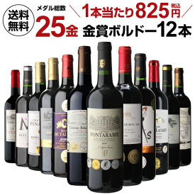 【誰でもワインP7倍 5/9 20時〜11中】送料無料 メダル総数25金!全て金賞ボルドー 特選12本セット 28弾 金賞ワイン ワインセット 赤ワインセット フルボディ 赤ワイン セット 辛口 長S P7倍オススメワイン