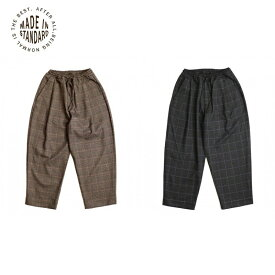 MADE IN STANDARD THICKEST CHECK WIDE PANTS Men's Ladies BROWN GRAY S M L