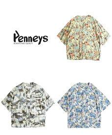 PENNEY'S / PAJAMA PAJAMA ALOHA CARDIGAN MADE IN JAPAN ぺニーズ レーヨン パジャマ シャツ カーディガン アロハシャツ オープンカラーシャツ イエロー ホワイト グレー モノトーン ブルー ボタニカル
