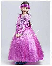 ラプンツェル風 プリンセスドレス(お花の飾り付き) 子供 ドレス ハロウィン クリスマス 衣装 C-2858at0613F