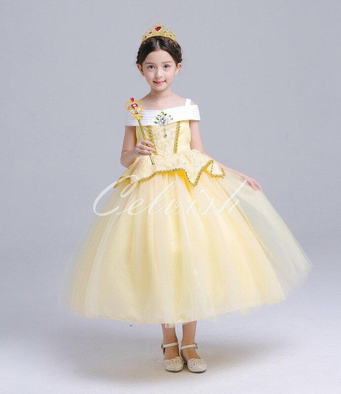 ディズニー ハロウィン ドレス ベル 風 子供 ドレス プリンセスドレス コスプレ 美女と野獣 衣装 仮装 USJ 当日発送可 C-2958S1688Y-S