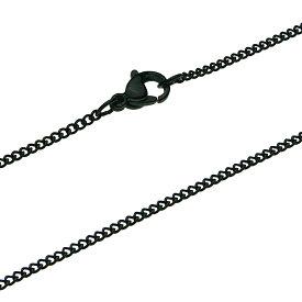 【ステンレスアクセサリー】チェーン/ネックレス 幅1mm キヘイ ブラック ステンレスチェーン SUS【cenote c0603】