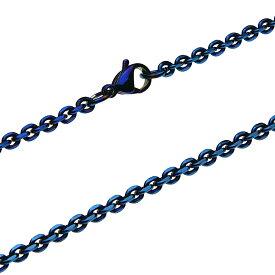【ステンレスアクセサリー】チェーン/ネックレス 幅2mm 4面カットあずき ブルー ステンレスチェーン SUS【cenote c0711】