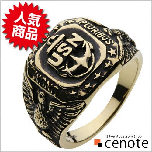 ブラスリング 真鍮 リング 指輪 メンズ アメリカ海軍 USA アンカー 錨 星 スター 紋章 エンブレム USN 錨 ネイビー ワシ 鷲 男性用指輪 イーグル 鷹 コンドル 船乗り 海上安全