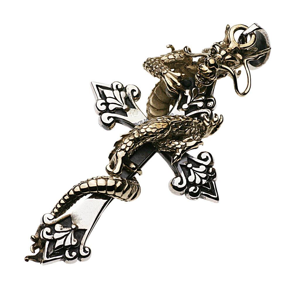 シルバーペンダント シルバーアクセサリー 黄龍 ビッグ クロス メンズ ドラゴン ネックレス トップ ヘッド 十字架 絡みつき 蜷局 大きい 芸術的