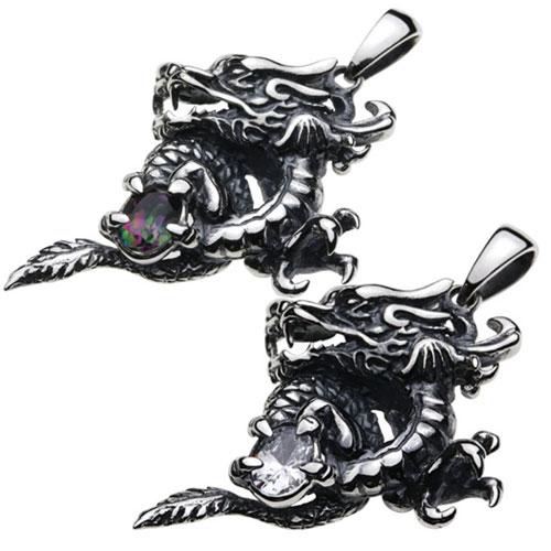 シルバーペンダント シルバーアクセサリー ドラゴン ストーン ホワイトジルコニア 龍 昇竜 トップ リアル 爪 メンズアクセサリー 和柄 和風 オリエンタル