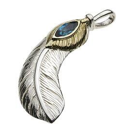 シルバーペンダント シルバーアクセサリー 羽根 インディアン ネイティブ 探求心 クジャク フェザー ロンドンブルートパーズ メンズ ネイティブアメリカン ピーコック ギフト
